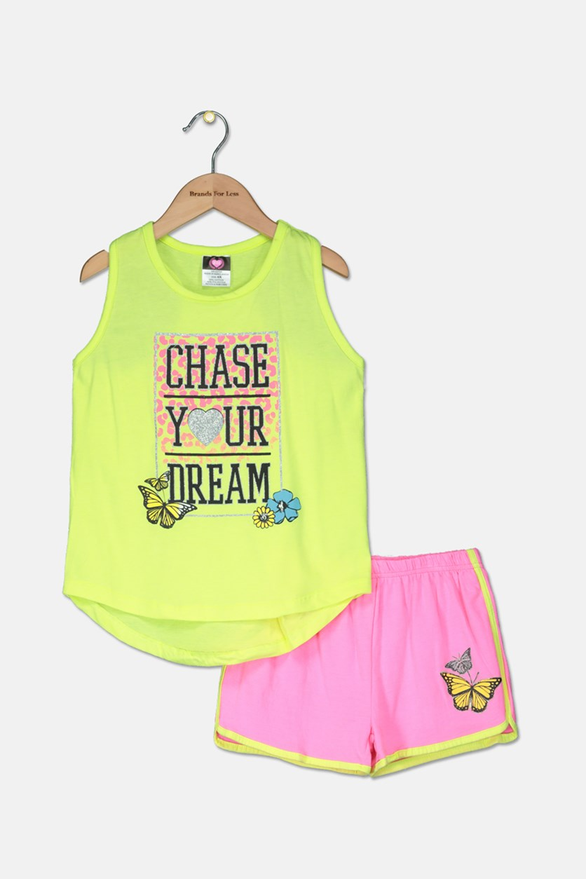 Kid's Girl Graphic Tops With Short, Yellow Green/Pink