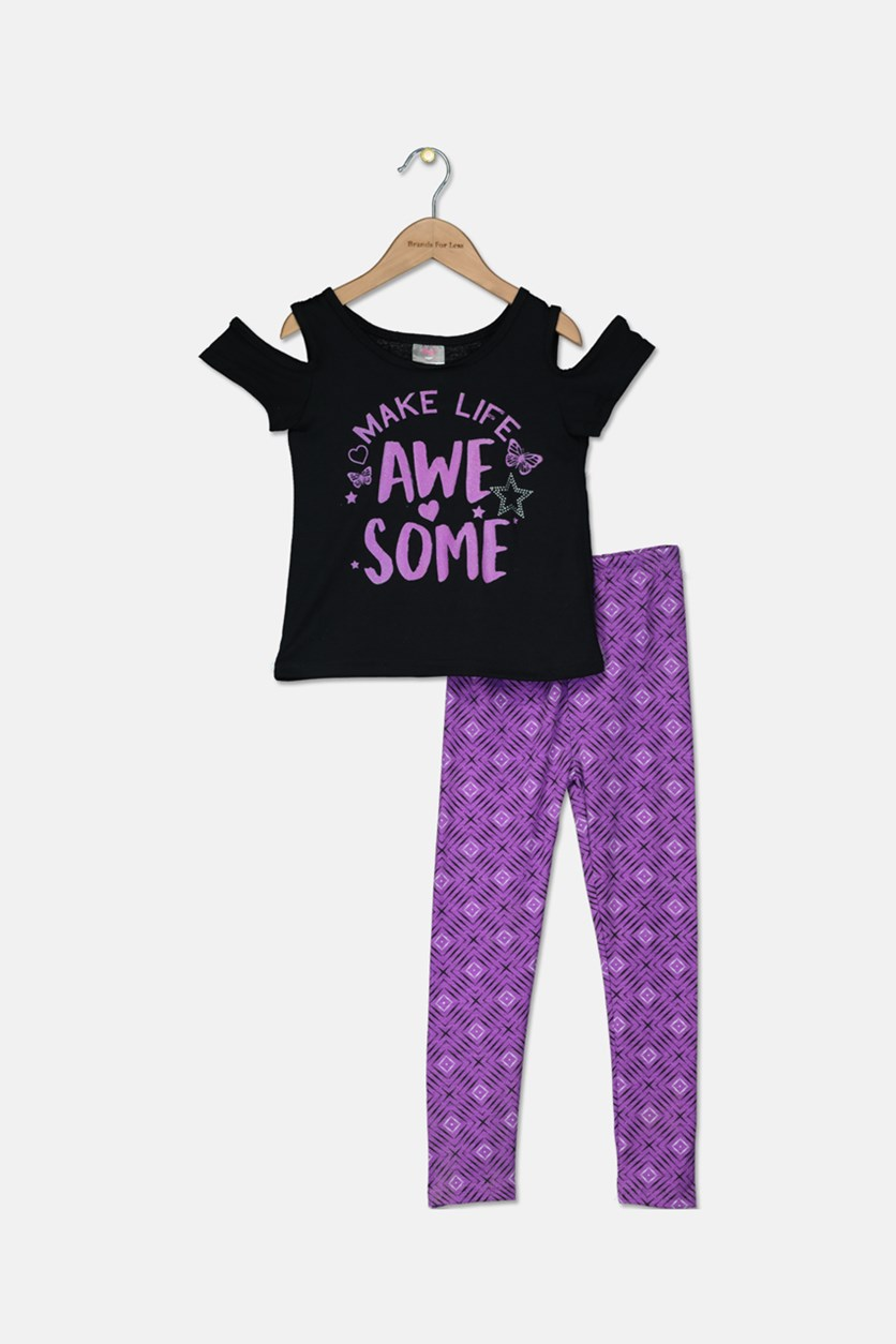 Kids Girls Fashion Top & Legging Set, Black/Purple
