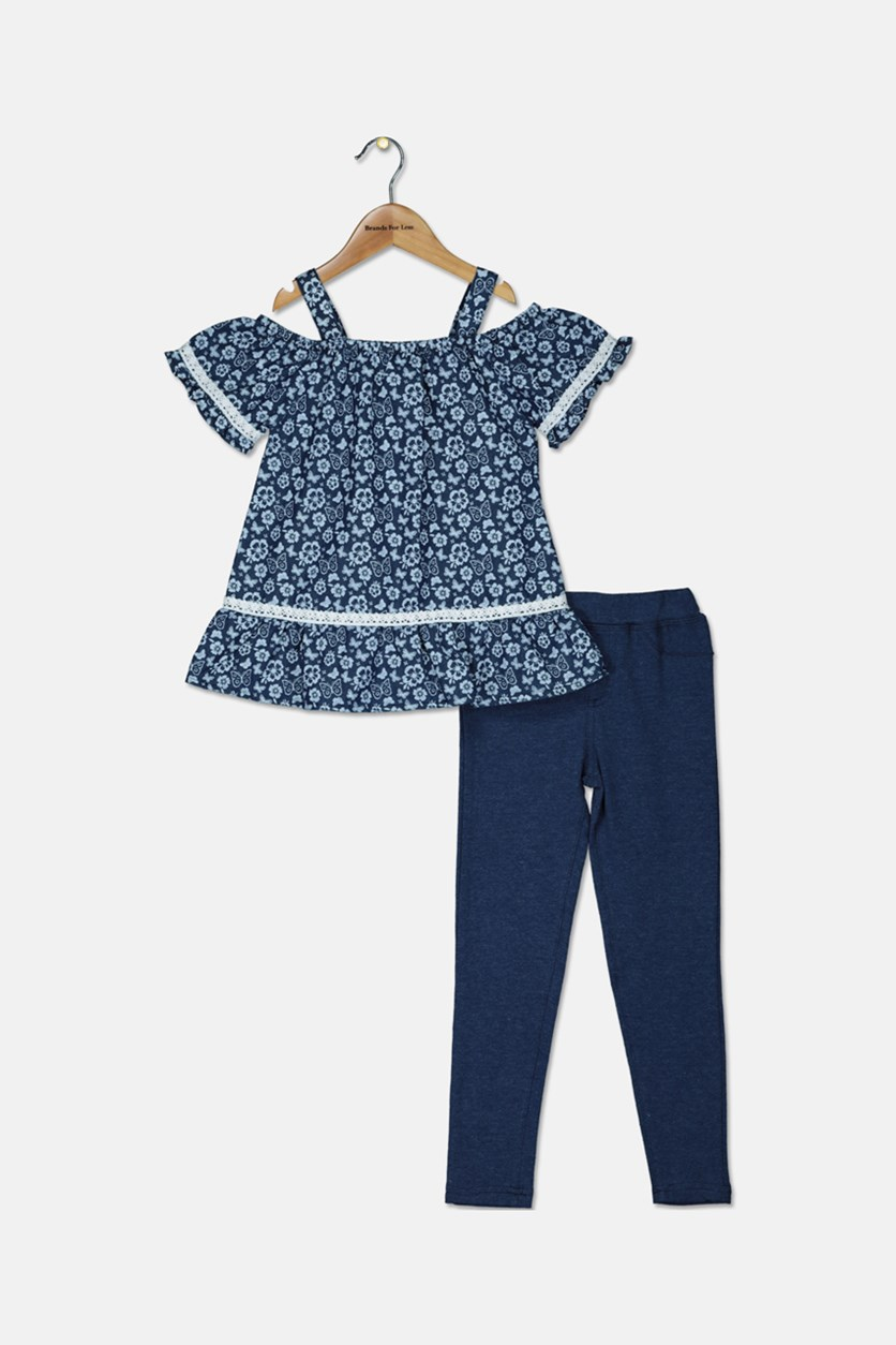 Little Girls Chambray Top With Jeggings Set, Navy Blue