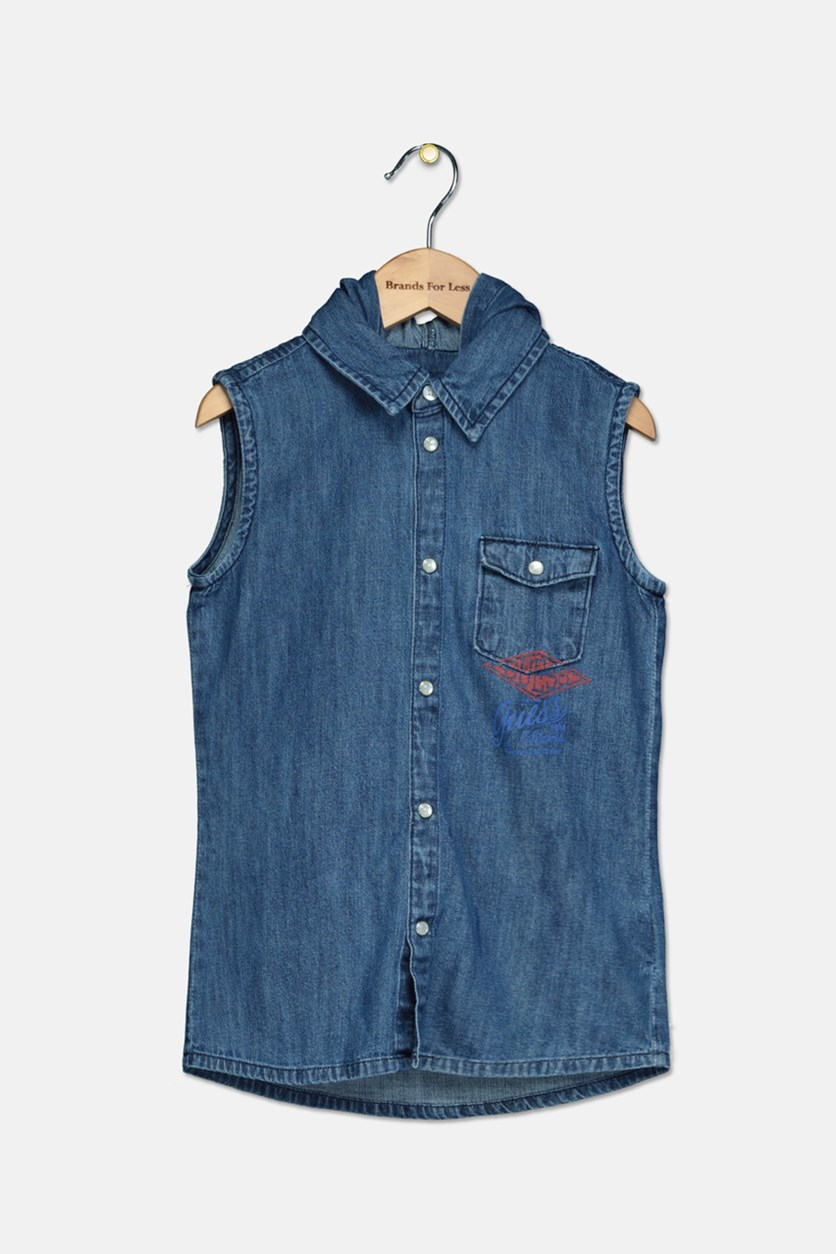 Kids Girls Denim Hooded Sleeveless Shirt, Blue