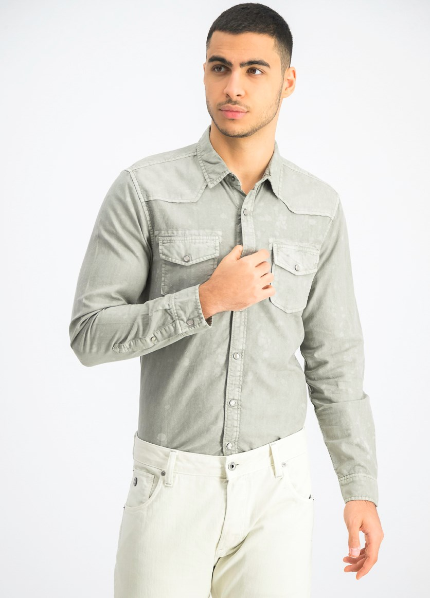 Men's Washed Slim Fit Shirt, Sage