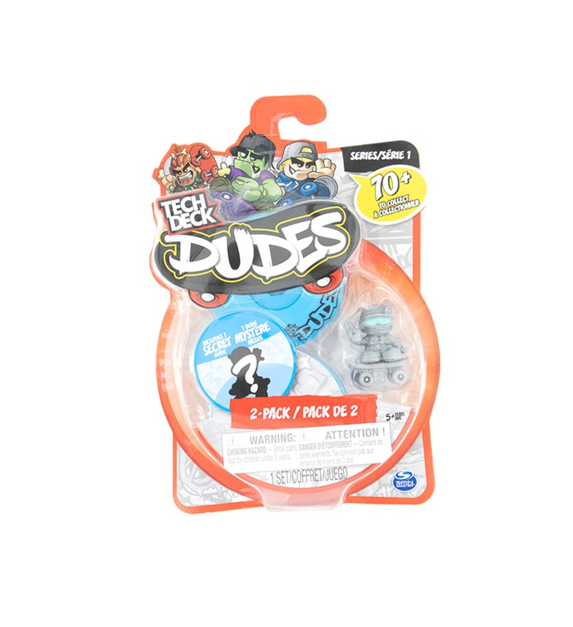 Tech Deck Dudes 2 Pack Collectible Skater Figures with Boards, Blue