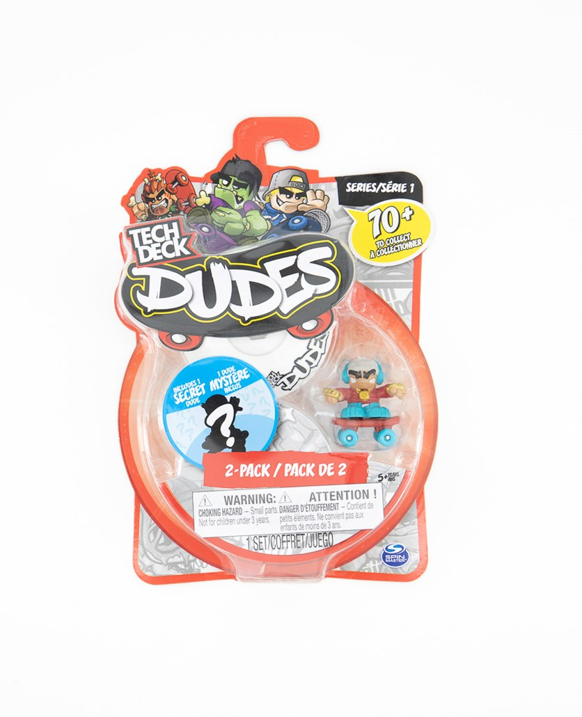 Tech Deck Dudes 2 Pack Collectible Skater Figures with Boards, White/Blue