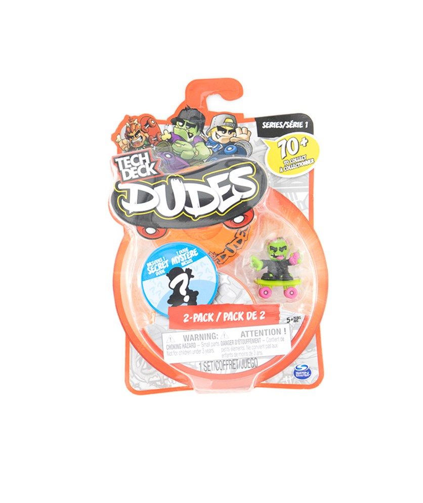 Tech Deck Dudes 2 Pack Collectible Skater Figures with Boards, Orange