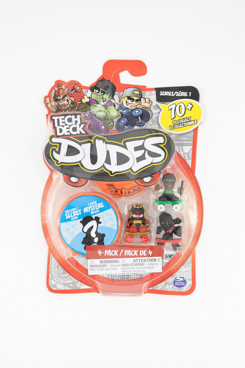 4PK Tech Deck Dudes Collectible Skateboard Figure Toy, Red Combo