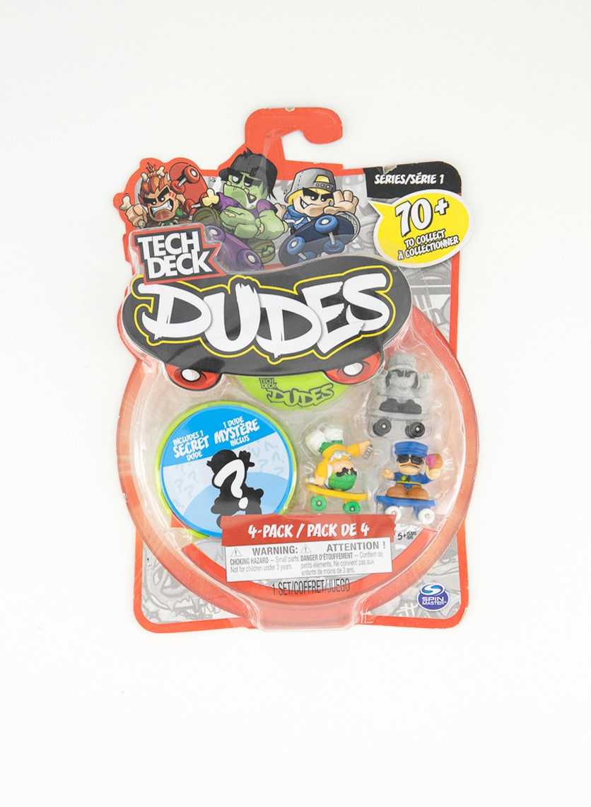 4PK Tech Deck Dudes Collectible Skateboard Figure Toy, Green Combo