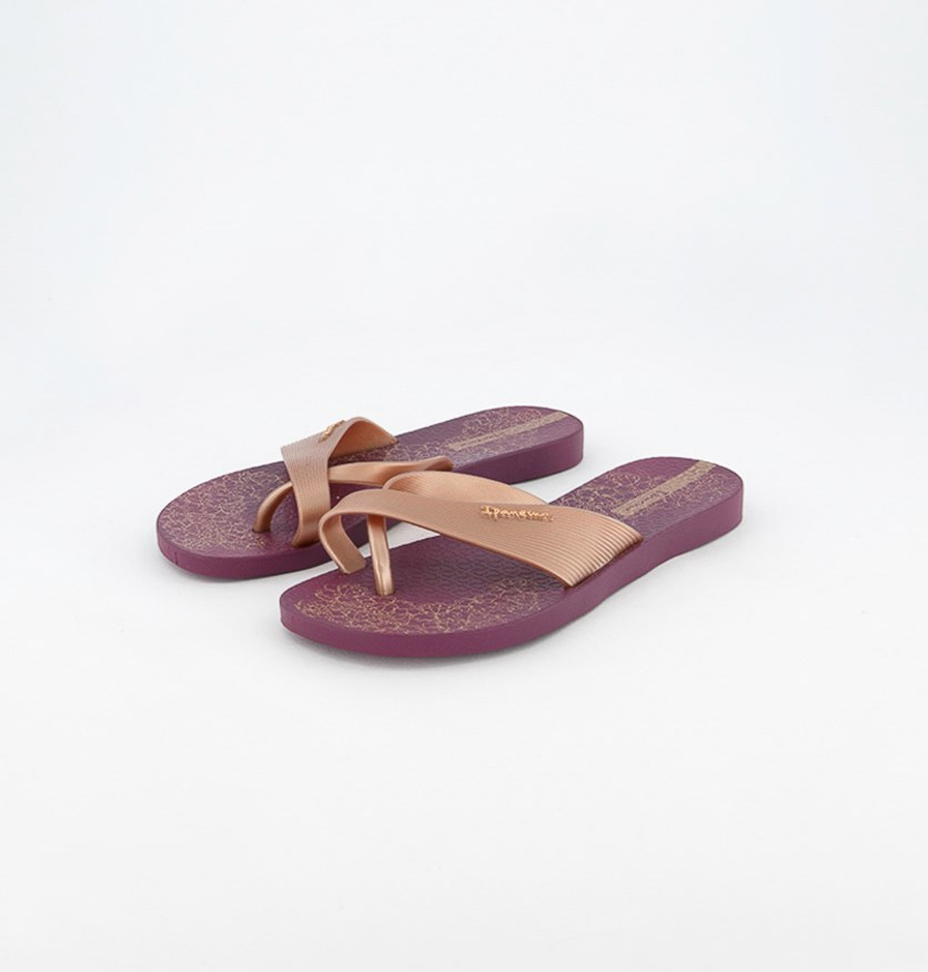 Women's Slip On Slippers, Violet/Light Brown