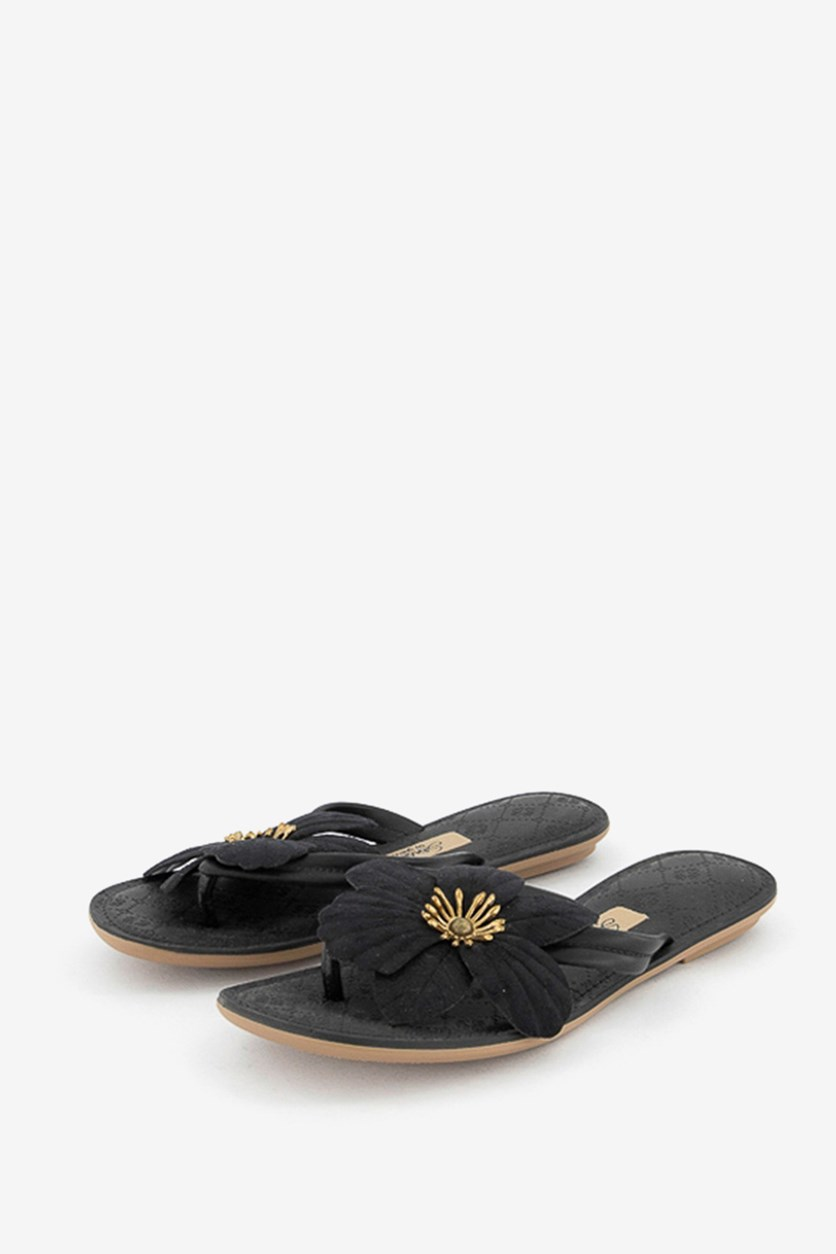 Women's Floral Slippers, Black