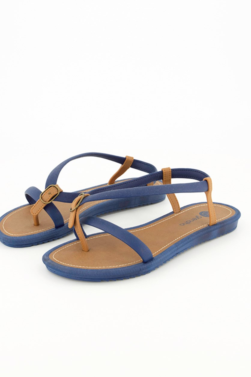 Slip-On Sandals, Blue/Brown