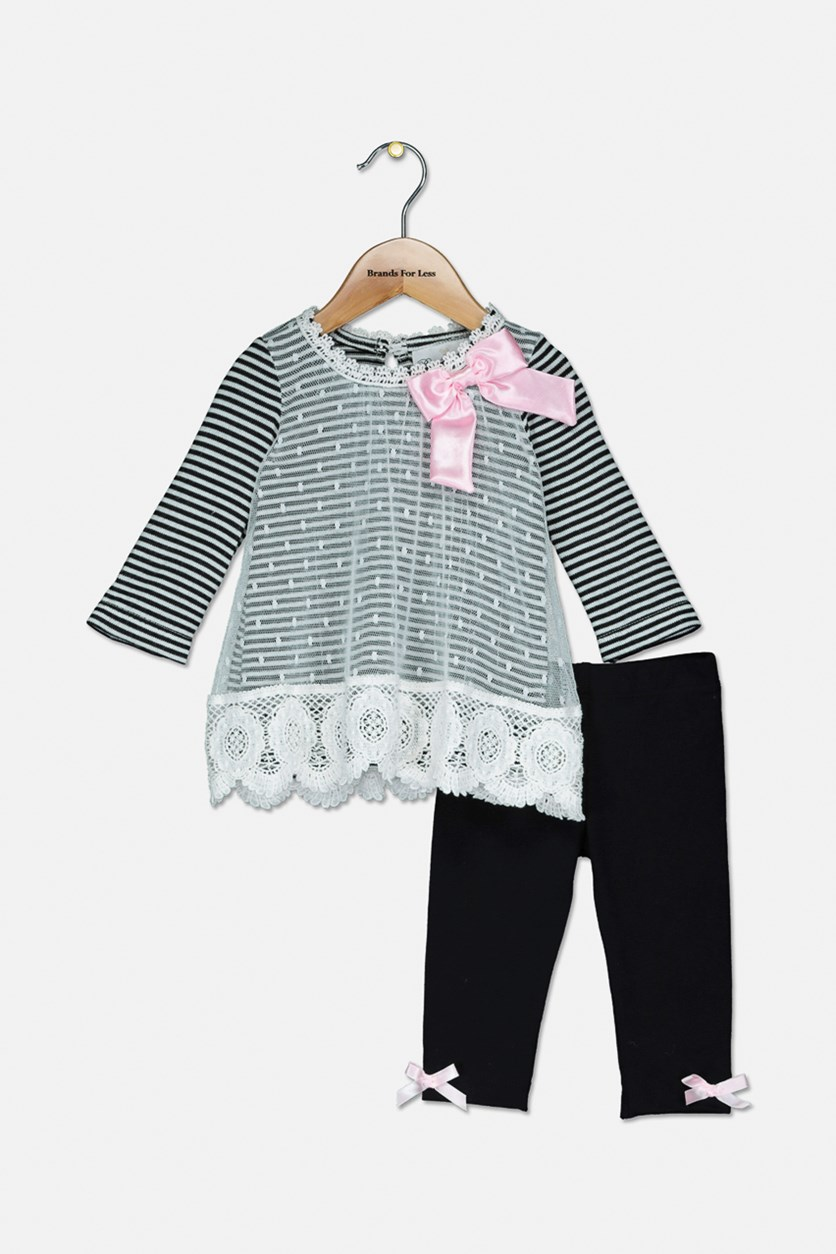Baby Girls 2-Pc. Striped Mesh Tunic & Leggings Set, Black/White