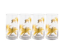 Palm Trees Highball Glasses Set Of 4 Pc, Gold