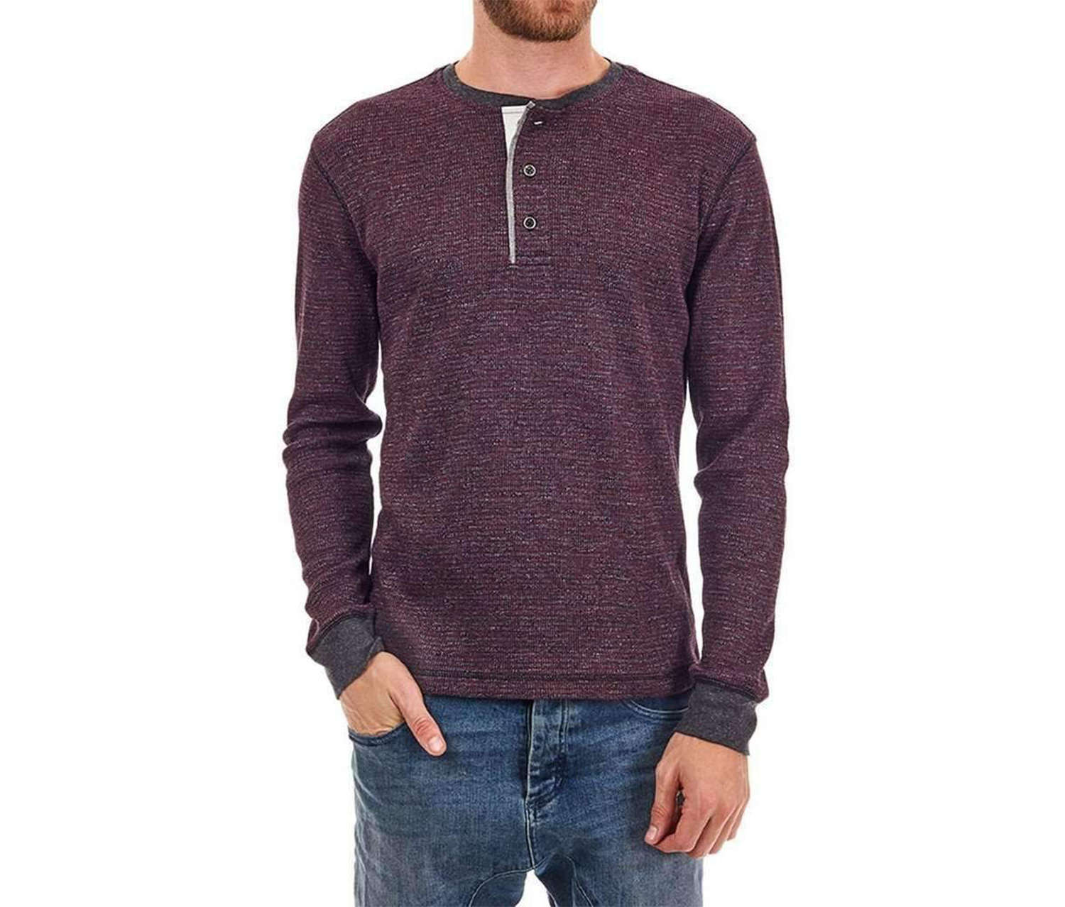 Men's Kyle Stripe Warm Henry Shirt, Burgundy