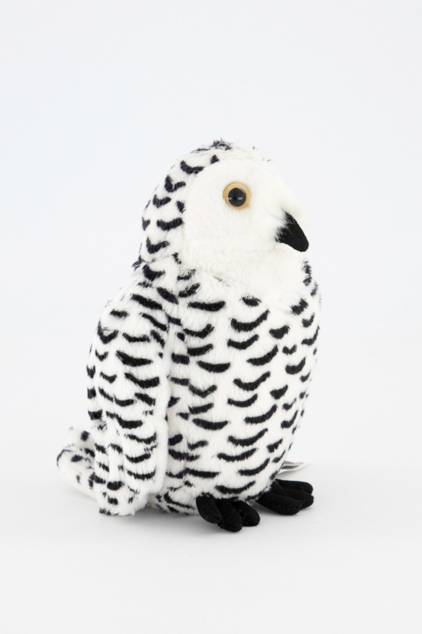 Snow Owl Baby North America Plush Toy, White/Black