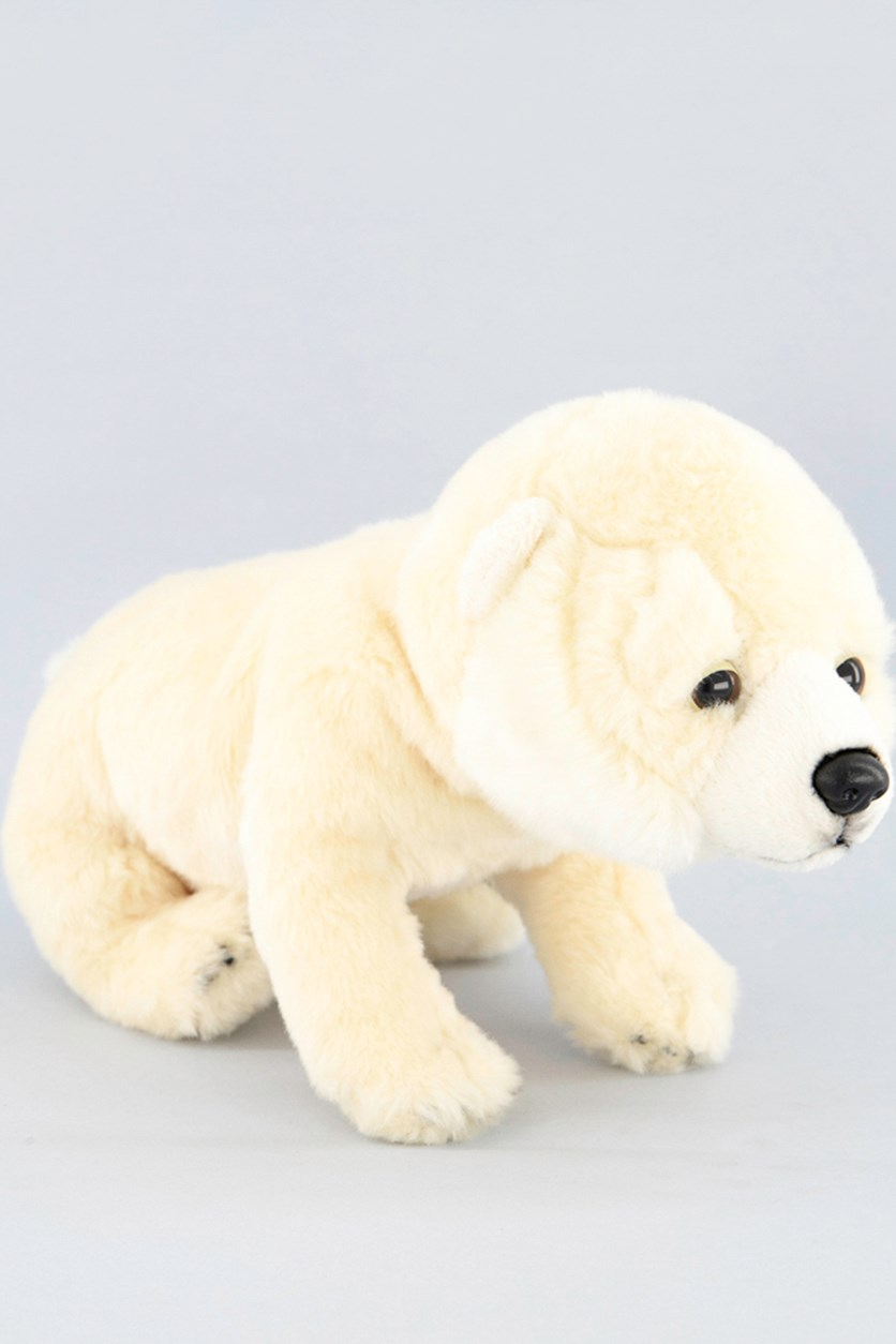 Wild Pups Polar Bear Plush Toys, Off White/Black
