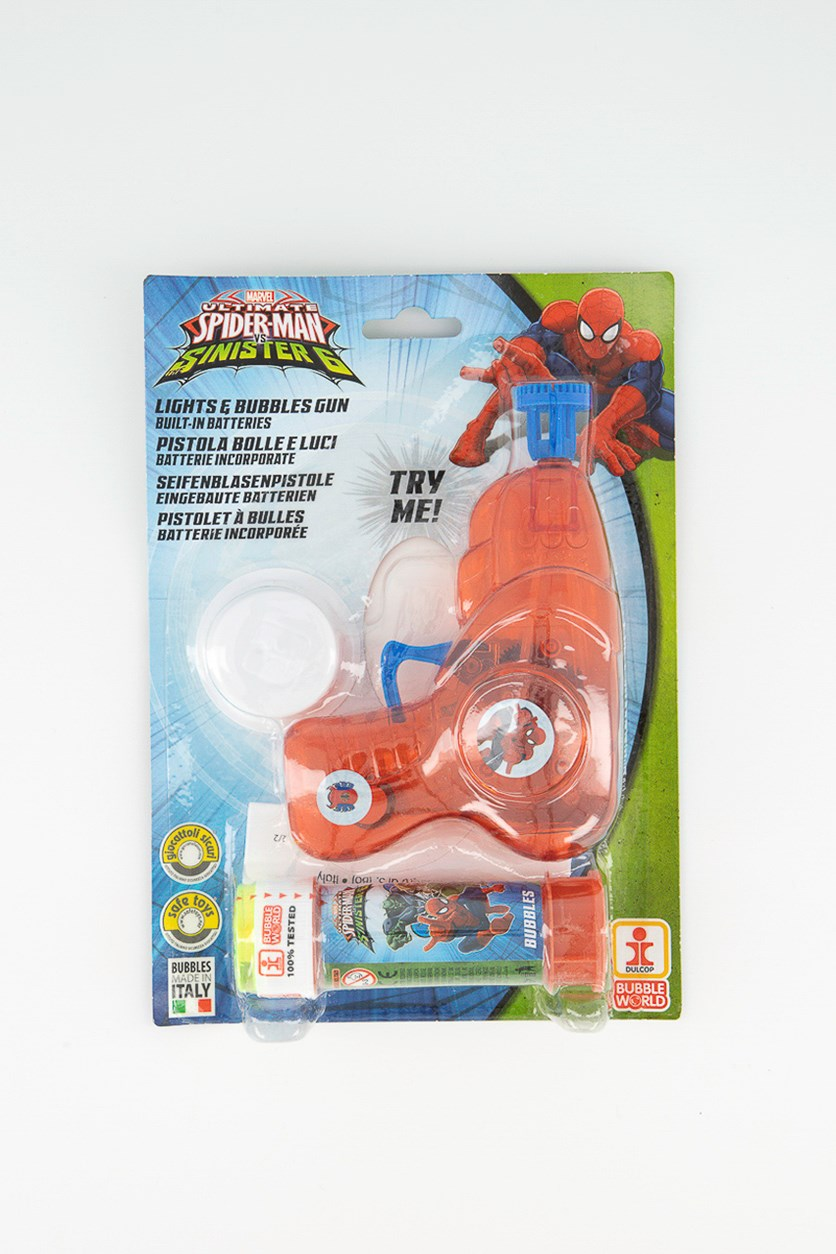 Spiderman Gun in bubbles and light with tube in Soap, Red combo