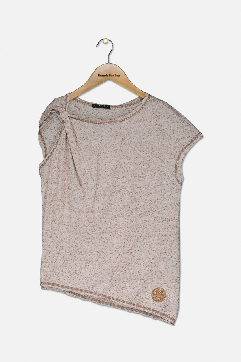 Girl's Sleeveless Textured Tops, Brown