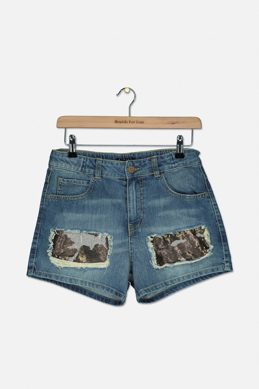 Girl  Textured Sequins  Shorts, Wash Blue