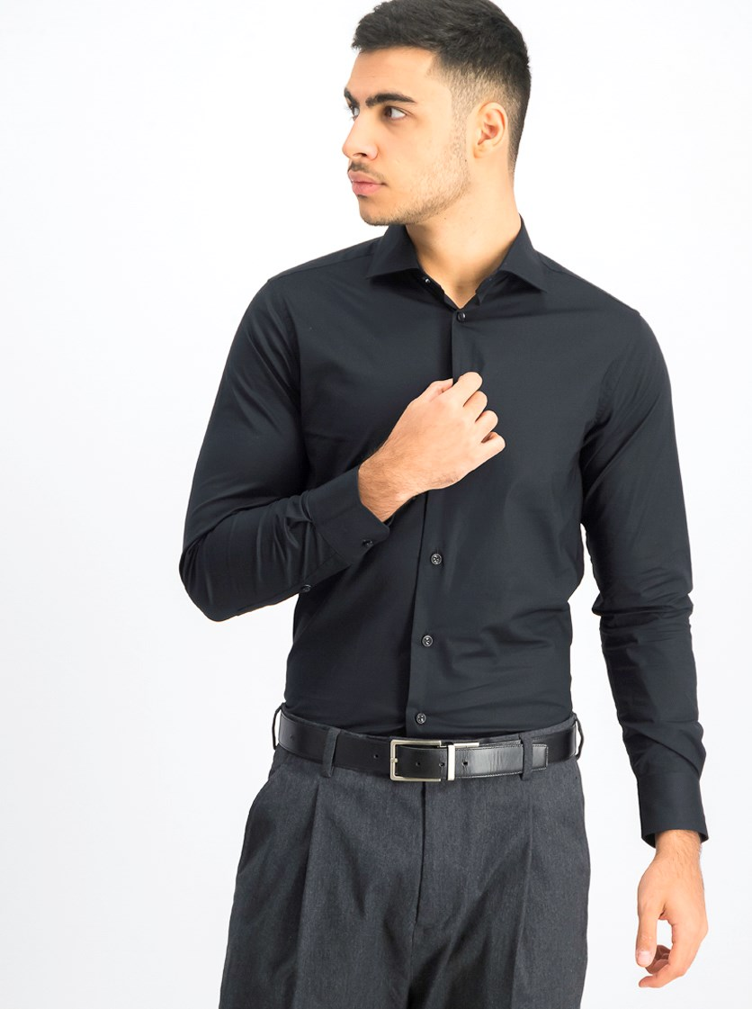 Men's Comfort Fit Button Down Dress Shirt, Black