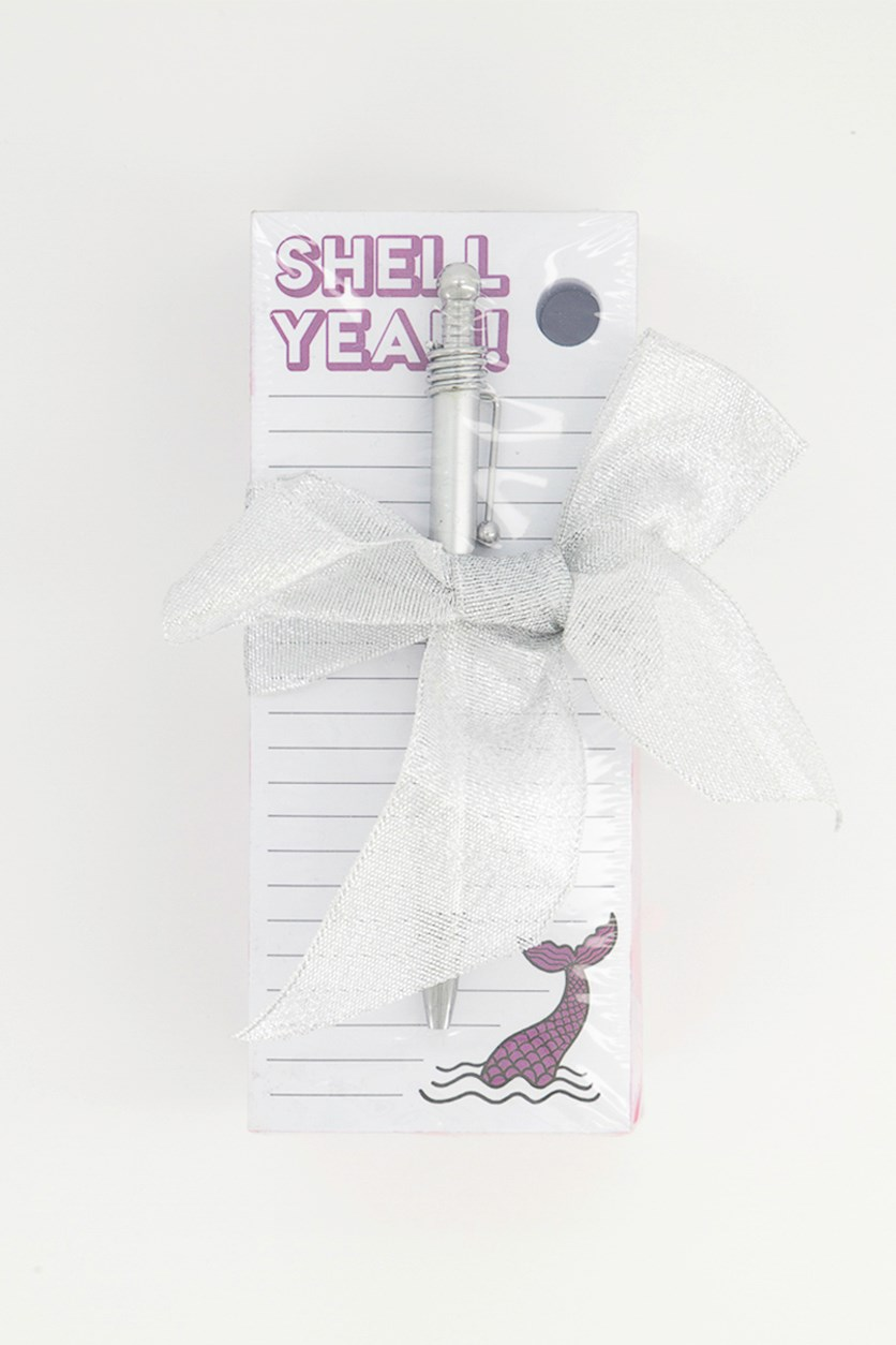 Set of Notes Pen with Sea Shell Design,Sliver/White/Purple