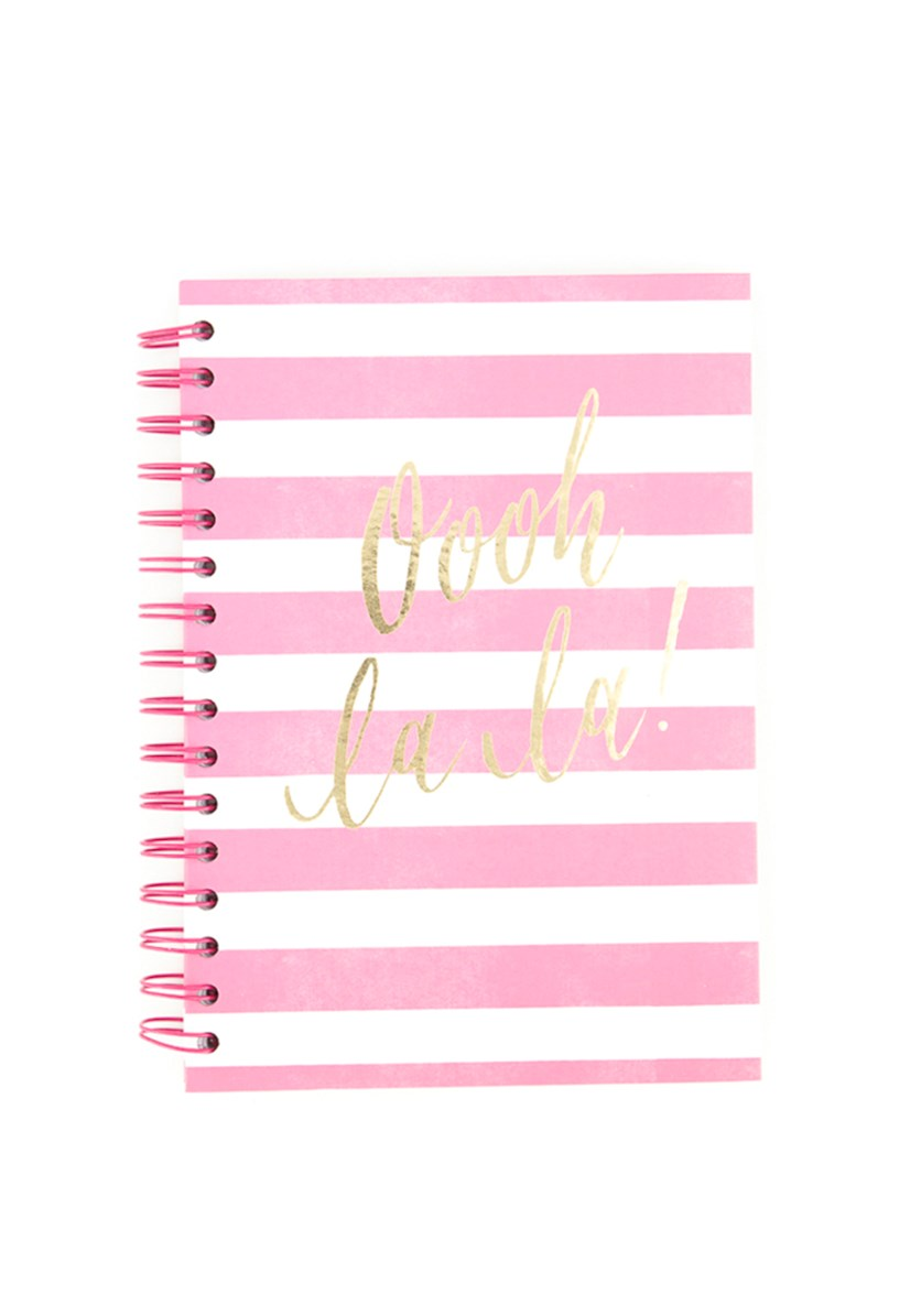 Oooh Lala! Stripe Notebook, Pink