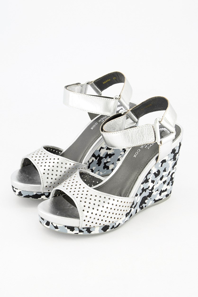 Women Victory Wedge Sandals, silver