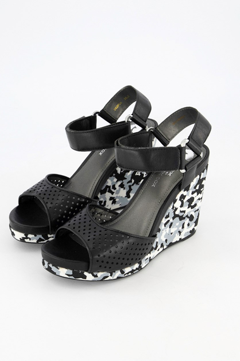 Women Nappa Sheep Wedge, Black