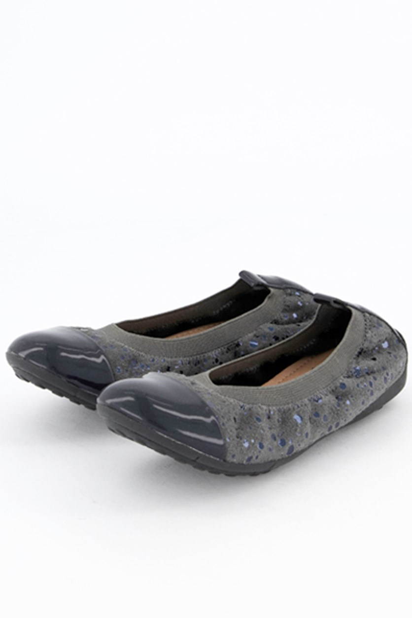 Kids Girl's Ballerina Flat Shoes, Dark Grey/Navy