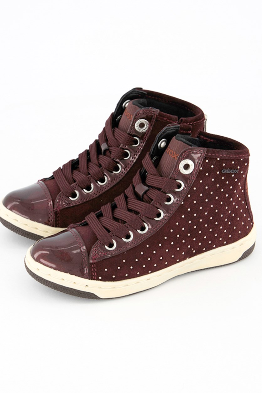 Girls High Cut Creamy Shoes, Maroon