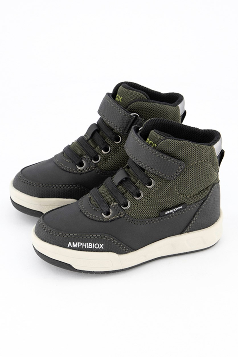 Toddler Boy's High Cut Sneakers, Military/Black
