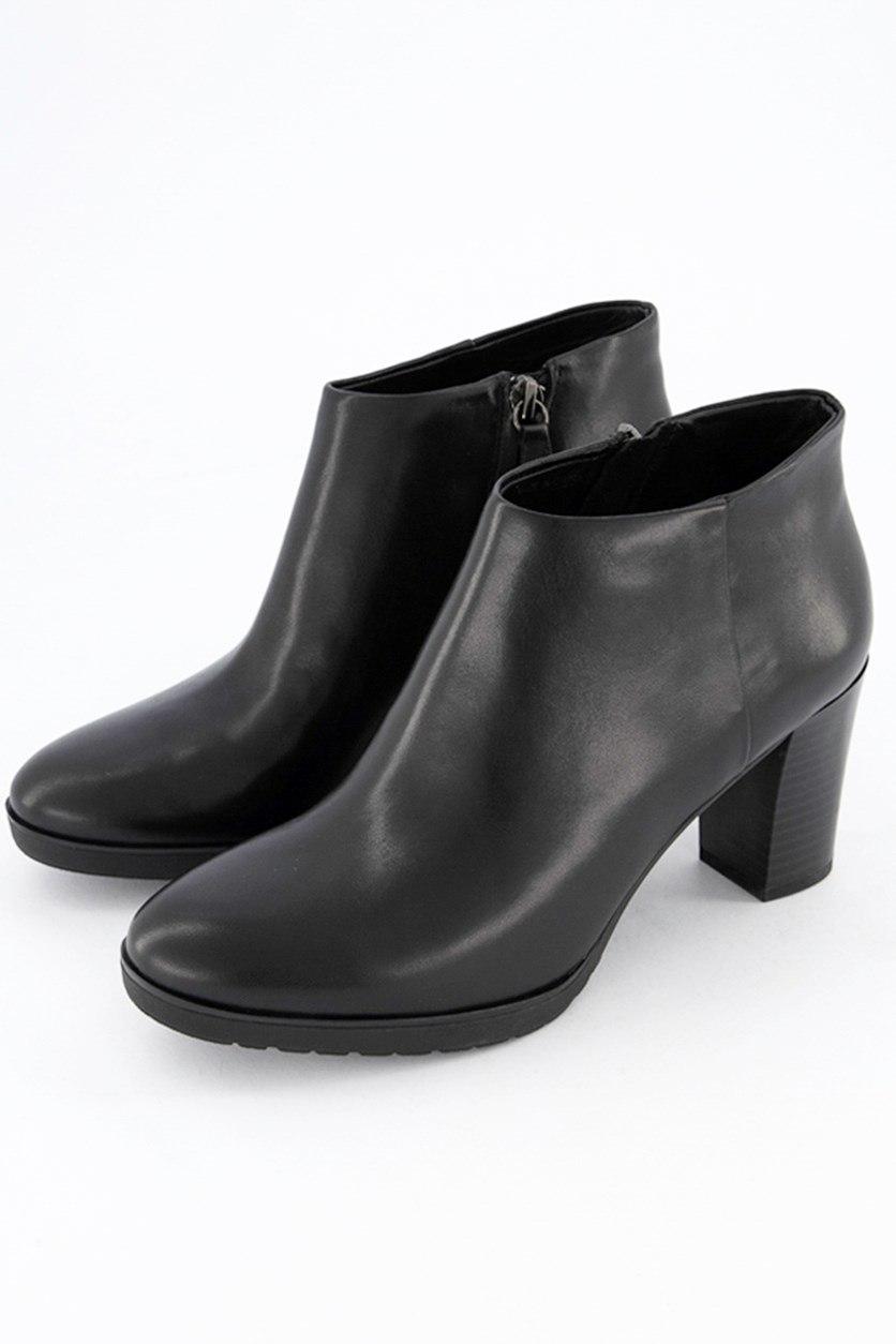 Women's Plain Leather Boots, Black