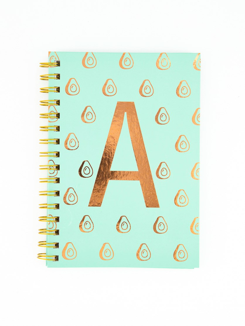 Spiral Notebook With A Avocado Design, Green