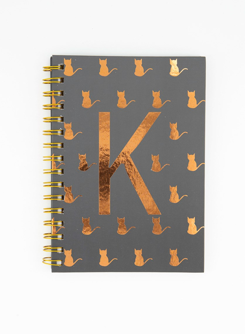 Spiral Notebook With  K Design, Grey