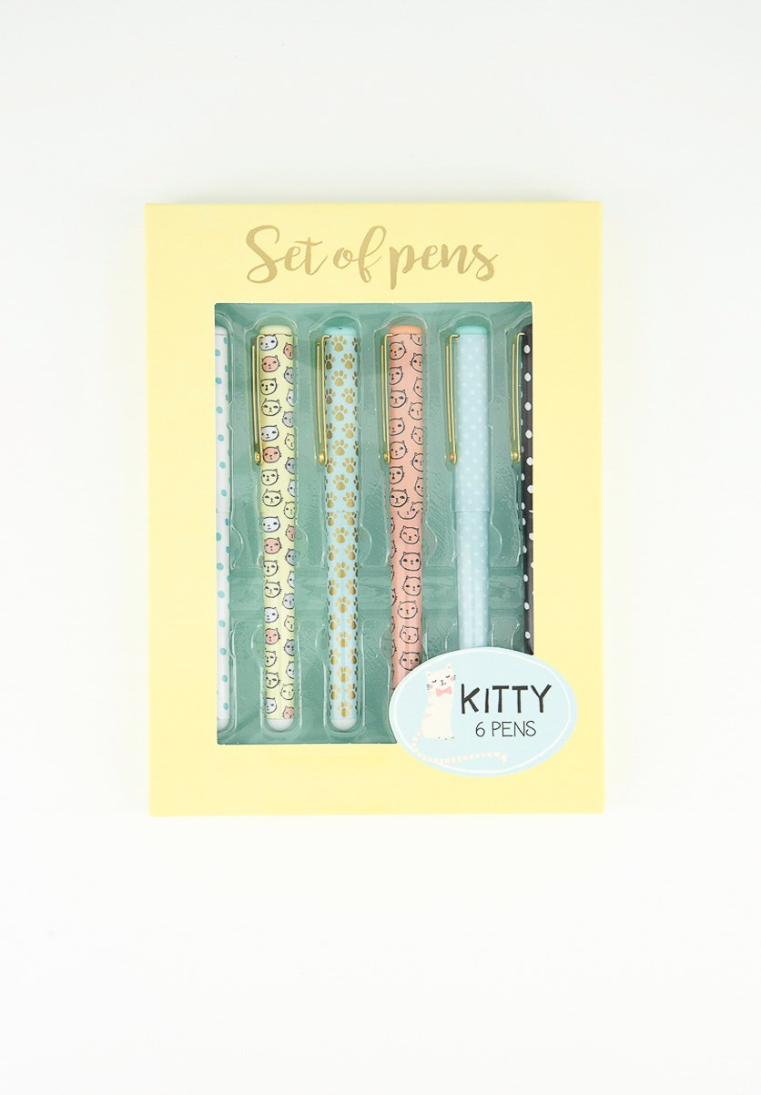 Kitty Six Set Of Pens In Cardboard Box, Yellow