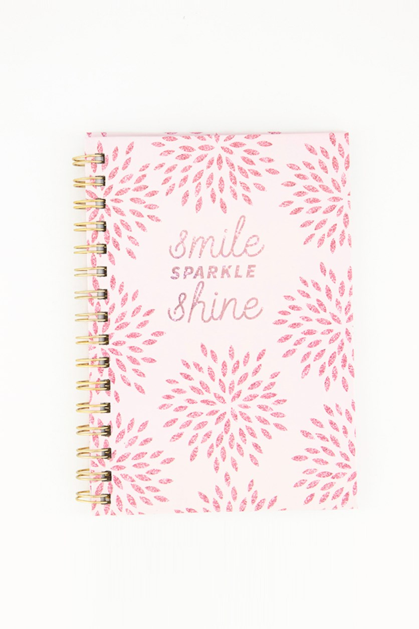 Smile Sparkle Shine Spring Notebook, Pink