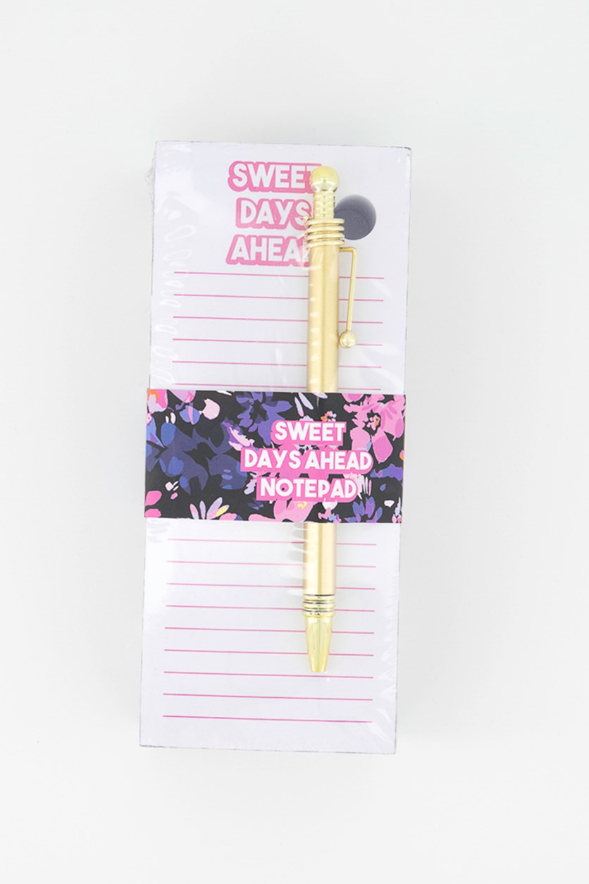 Rectangular Floral Notepad With Pen, Pink Combo