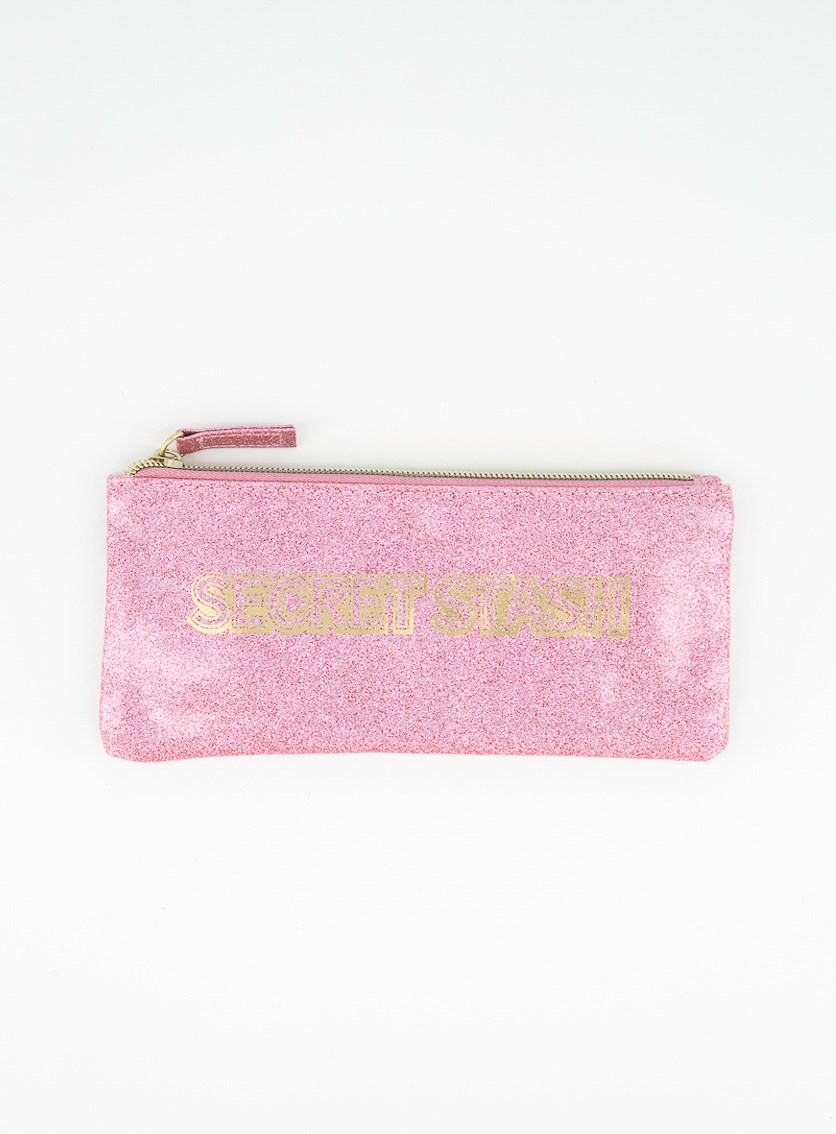 Secret Stash Pouch Case, Pink Glittery