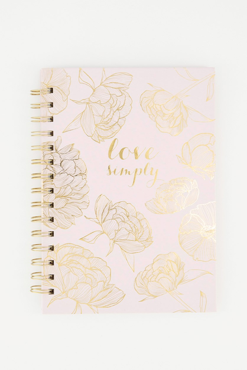 Love Simply Floral Design Spiral Notebook, Baby Pink