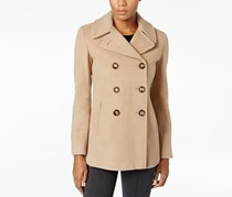 Calvin Klein Women's Petite Double-Breasted Peacoat, Tan