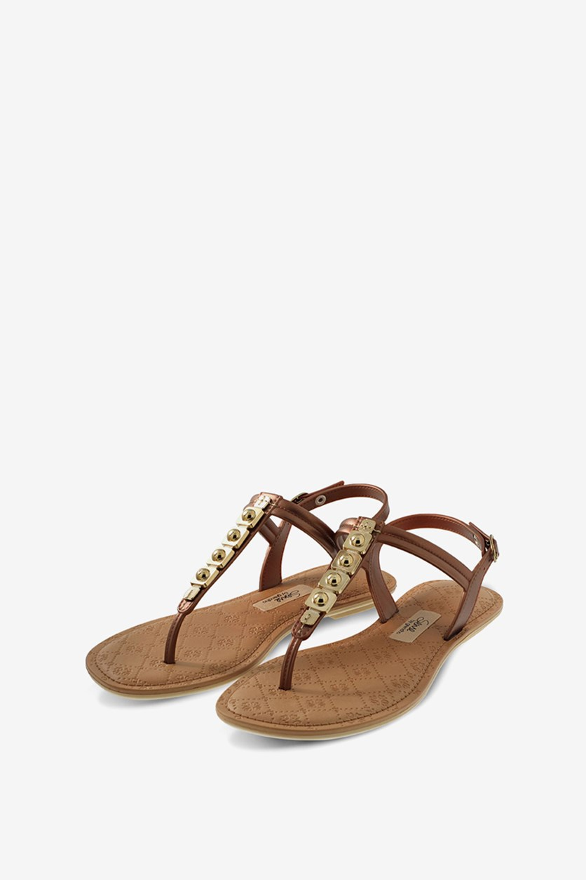 Sense Jewel Sandals, Dark Beige