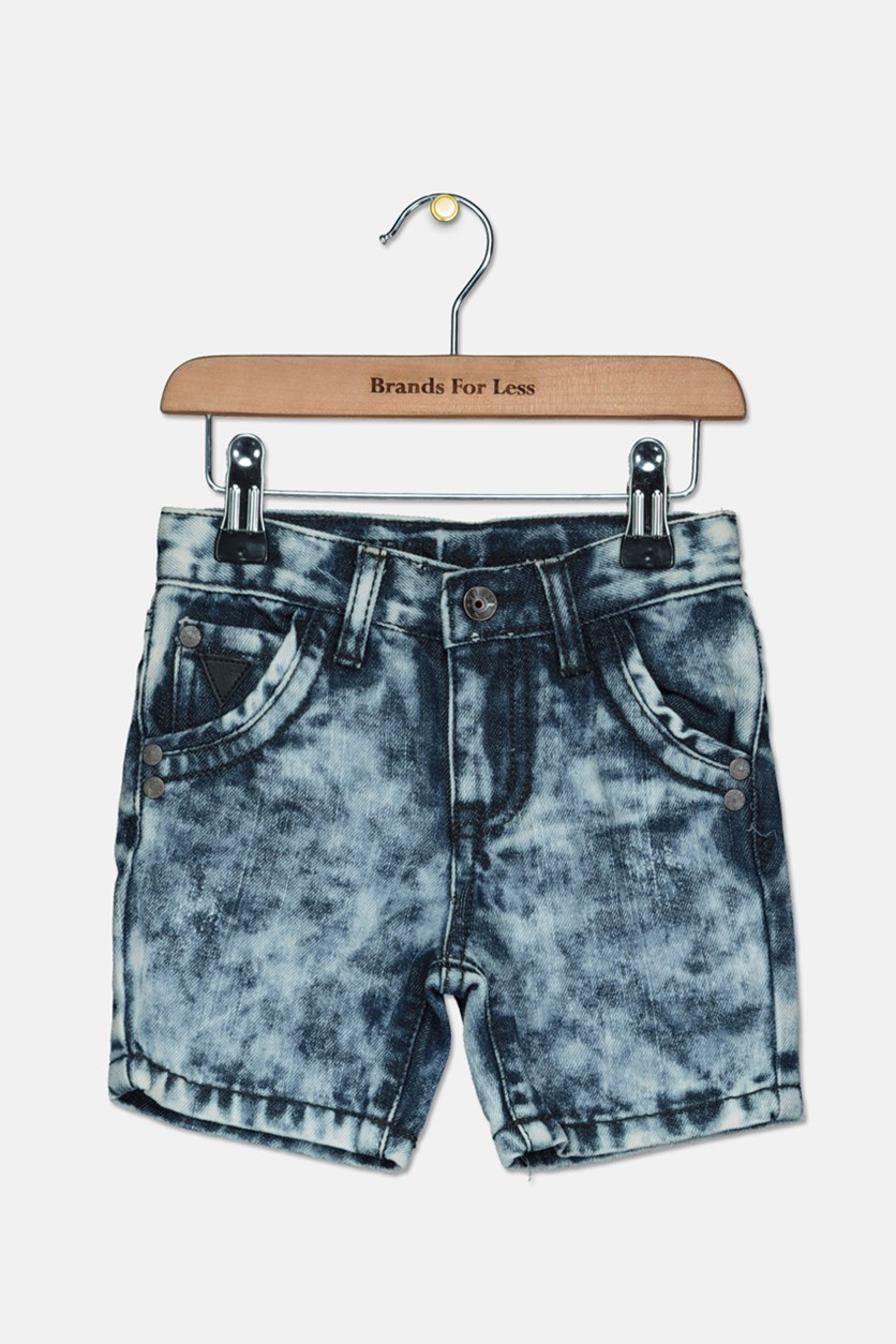 Toddlers Girls Washed Denim Short, Blue