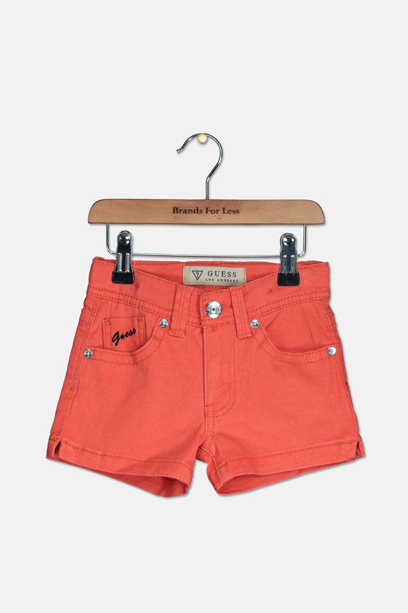 Toddler's Girls Twill Short, Orange
