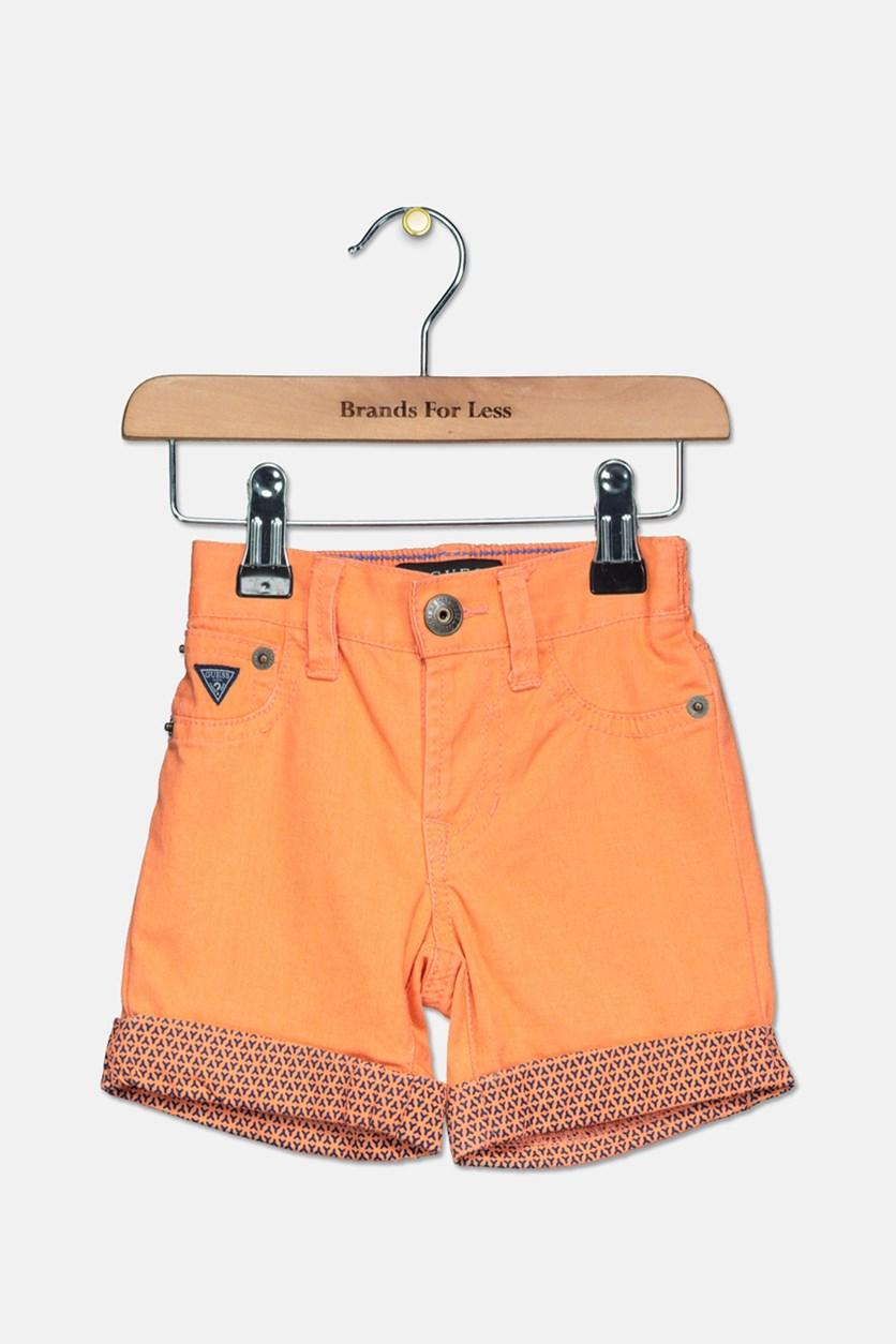 Toddlers Girls Roll Tab Shorts, Orange