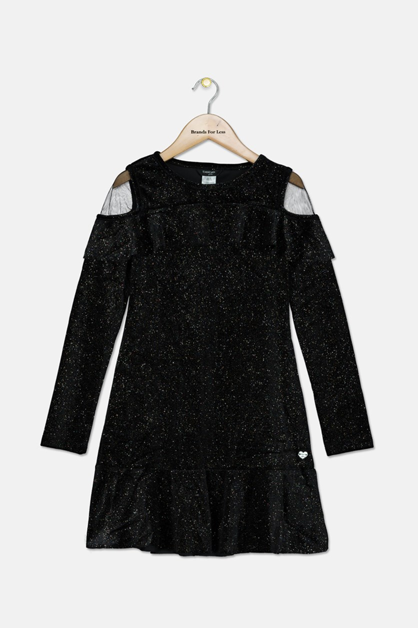 Girls Glitter Velour Dress, Black