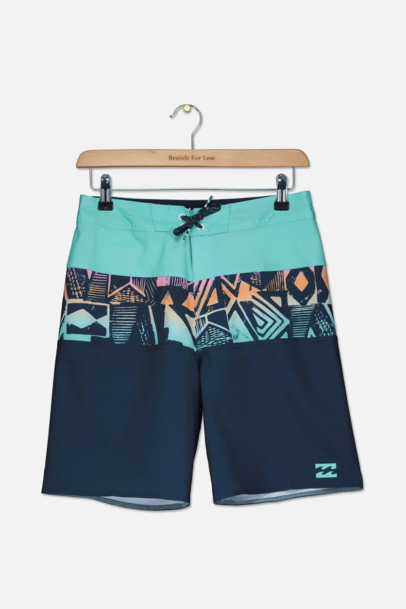 Boys' Big Tribong X Boardshort, Indigo/Mint Combo