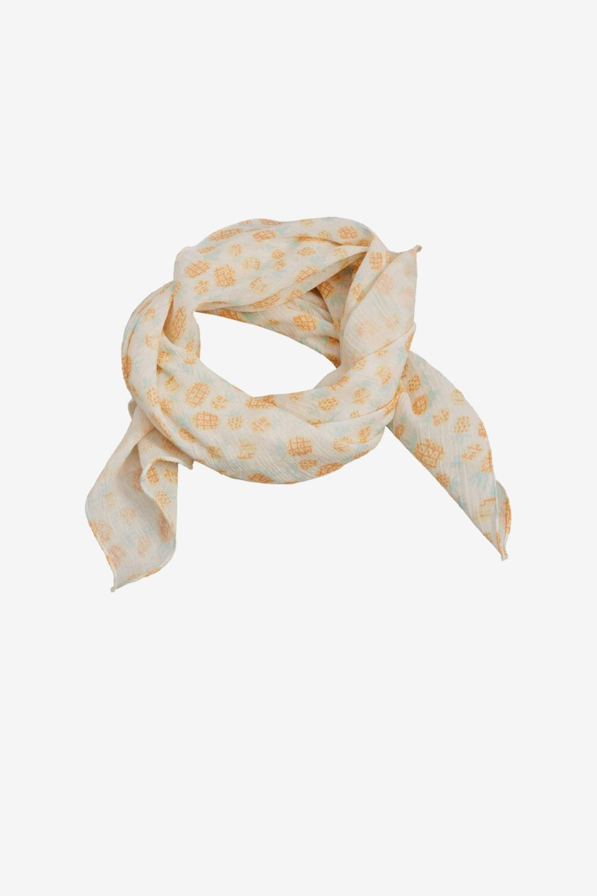 Kids Girls Printed Cotton Scarf, Ivory/Coral Combo