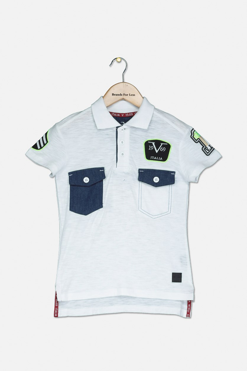 Baby Boys Two Chest Pocket Polo Shirt, White