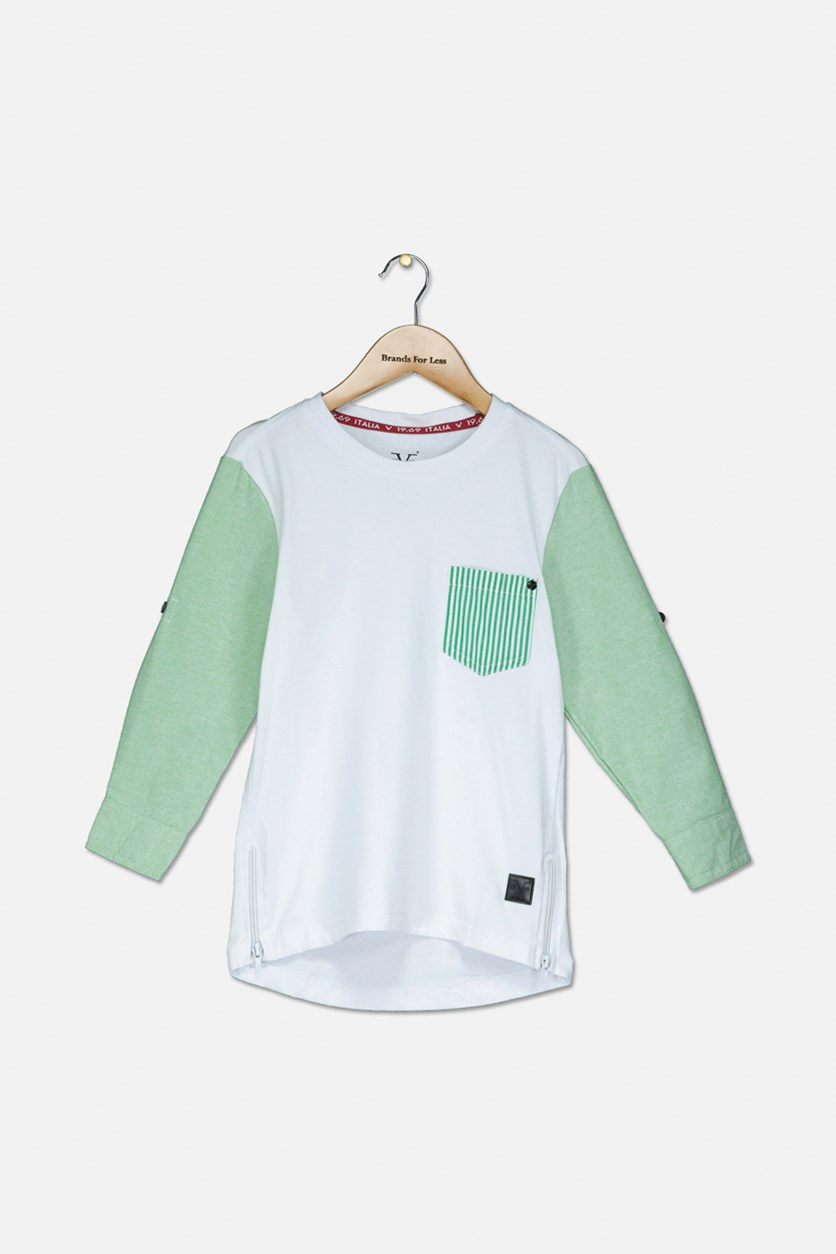 Kid's Boys Long Sleeve T-Shirt, White/Green