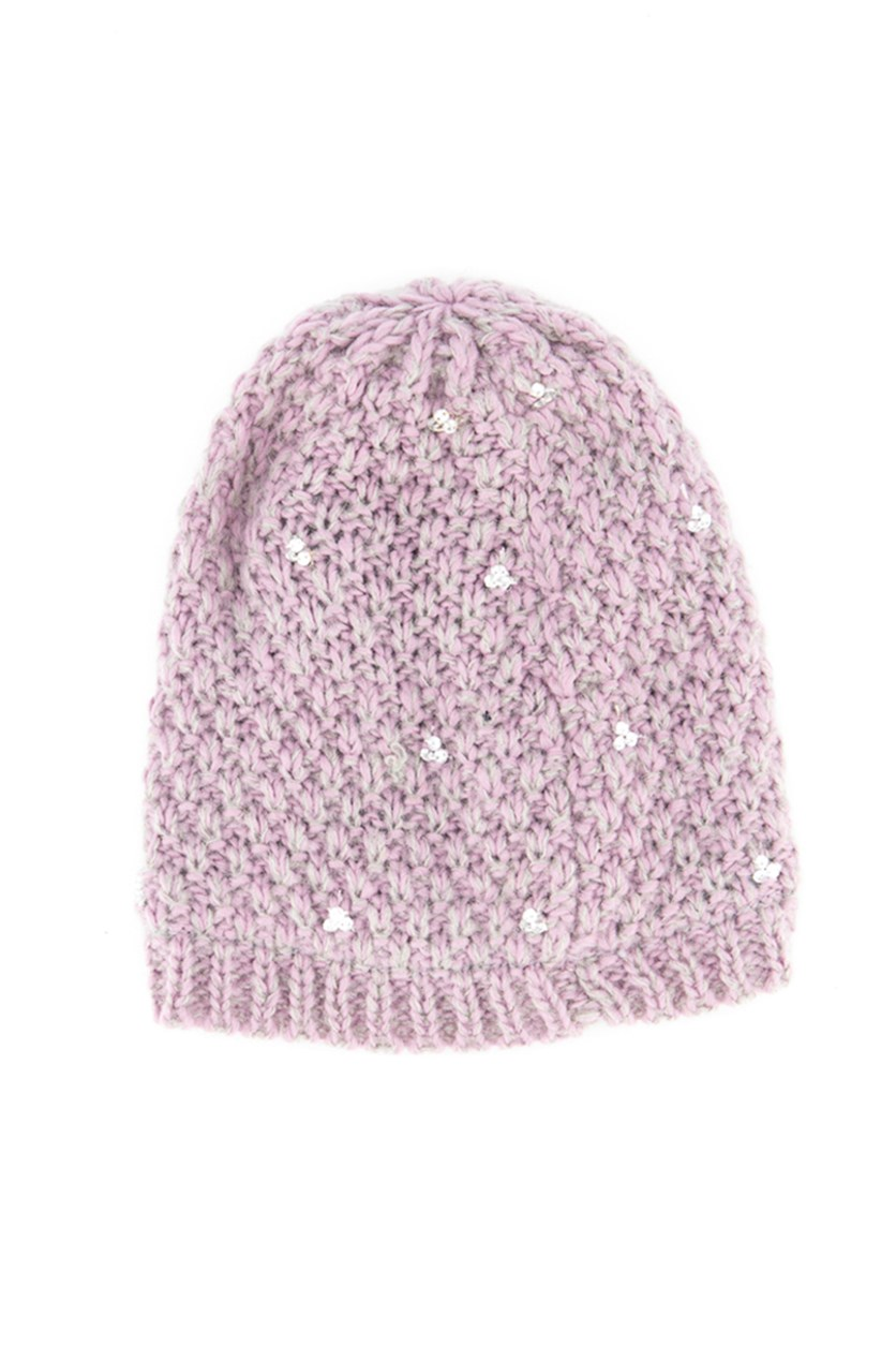 Girl's Knit Cap, Purple-Grey