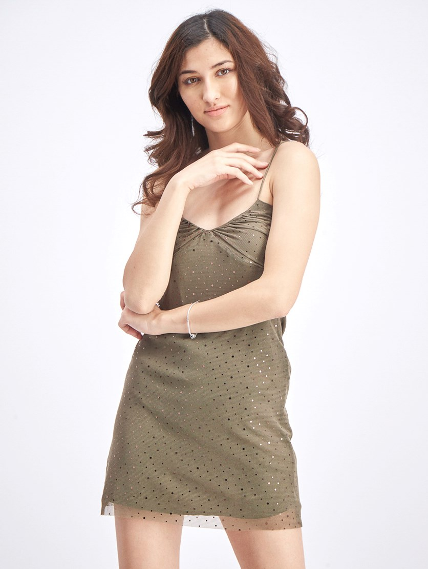 Women's Crystal Detail Mini Dress, Olive