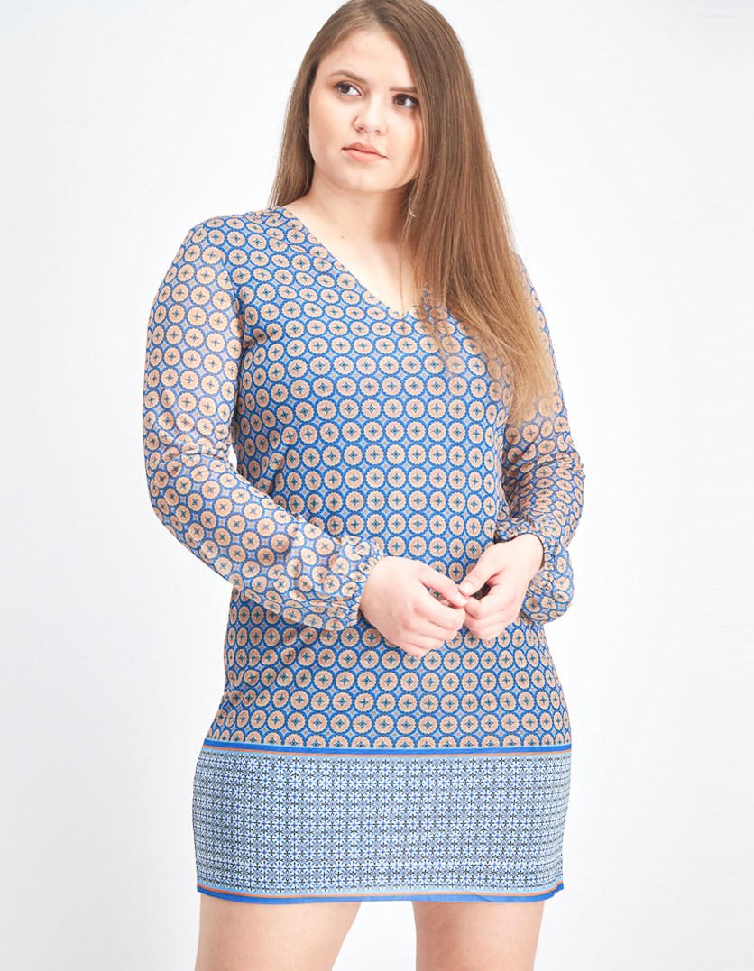 Women's Printed Shift Dress, Blue